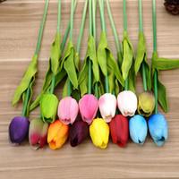 flor de tulipán de seda artificial al por mayor-Látex Artificial Flor de Tulip Fiesta de Boda Creativa Día de San Valentín Mano Real Touch Seda Flores para la Decoración Casera Regalo 1 6zp YY