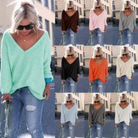 Wholesale wholesale cotton sweaters - Women V-Neck Knitted Sweater Solid Color Oversized Long Sleeve Loose Jumper Tops Knitwear 10 Colors OOA3923