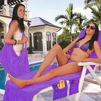 Wholesale chair towels for sale - Group buy 73 cm Microfiber Beach Chair Cover Towel Pool Chair Cover Blankets Portable With Strap Beach Towels Double Layer Thick Blanket HH7