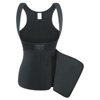 schwarze unterbrustweste großhandel-Body Shaper Frauen Bauch Kontrolle Abnehmen Korsett Underbust Sauna Weste Schwarz Doppelschicht Neopren Shapewear Taille Trainer Plus Größe