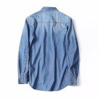 Wholesale Denim Shirt Men - 2018 Spring New Men Fashion Slim Longsleeve Jeans Shirt High quality Man Brand Casual Buiness Denim Camisa Man Outwear Solid Shirt AB4680