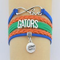 пользовательские плетеные кожаные браслеты оптовых-Drop доставка бесконечность любовь Флорида аллигаторы браслет ручной работы кожаный Кос спортивная команда браслет на заказ любой thems