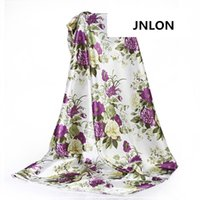 lila silk pyjamas großhandel-150 cm * 50 cm lila blume weich kleid material satin stoff nähen kimono schal pyjamas kleid stoff diy imitiert seide