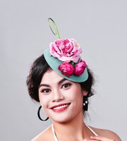 Wholesale lady fascinators - elegant Ladies royal fascinators Polyester fascinator women linen feather hat wedding party hair accessory feather hat MD16024