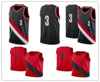 Wholesale Cj Free - 2017-18 New Season Man 0 Damian Lillard Jersey Cheap Stitched Black Red Color Team 3 CJ McCollum Basketball Jersey Sports Free Shipping