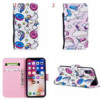 Unicornio Cartoon Leather Wallet Case para Iphone X 8 7 6 6S Plus 5 5S SE Huawei P8 Lite 2017 P10 Lite Animal Dog Horse Cat Funda de flores