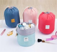 Wholesale makeup style pencil case - Makeup Bag Pencil Case cylinders Barrel Shaped Cosmetic waterproof Travel Ladies Organizer Pouch Drawstring Slacker Bags 6 Colors portable
