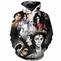 michael jackson moda venda por atacado-Nova Moda Casual Hoodies Harajuku Unisex 3d Imprimir Superstar Michael Jackson Hoodies Pullovers Moletom Com Capuz A71