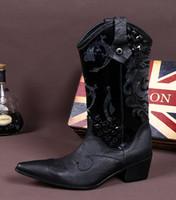estilo italiano botas homens venda por atacado-Estilo italiano de couro do couro dos homens botas de moda dos homens negros business dress homens moda botas de boot personalizado da motocicleta dos homens