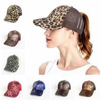 Wholesale leopard print baseball hats - Leopard Print Ponytail Baseball Cap 9 Colors Mesh Hats Women Messy Bun Casual Hip Hop Snapbacks OOA5284