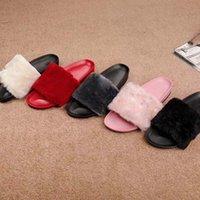 zapatos de casa de lana al por mayor-2018 Nuevas mujeres de invierno cálidas Home Hotel Flats antideslizante esponjoso en el interior Soft Soft Fleece Slipper Open Toe Shoes alfombra Zapatillas