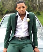 tek parça resmi pantolon kıyafeti toptan satış-2019 Avcı Erkek Takım Elbise Slim Fit İki Adet Groomsmen Düğün Smokin Erkekler Için Doruğa Yaka Bir Düğme Resmi Balo Suit (ceket + Pantolon)