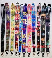 ingrosso pezzi di cordicella-10pcs / 20pcs / 30pcs / 50pcs giapponese anime un pezzo chiave della catena del telefono di Sailor Moon Neck Strap Lanyard mobile ID Badge catene chiave P806