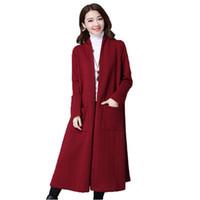 rotweinmäntel großhandel-Herbst-Winter-neue verdicken lange Strickjacke-Wolljacke-Jacken-Frauen-Taschen-Strickjacke-Mantel-Schwarz-Wein-rote Strickjacke-Oberbekleidung
