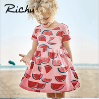 Wholesale Dance Shorts For Girls - Richu fruit printed dance dresses for girl kids standard girls dress for party and wedding princess little girls kids dresses for girls