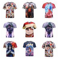 Wholesale wholesale anime fashion clothes - 3D Printing T-Shirts Dragon Ball One Piece Naruto Anime 3D Printed Tee Shirts Summer Clothing Kids Shirts OOA4903