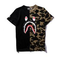 Wholesale 5xl hip hop shirts for sale – custom Shark Head t Shirt Pullover Camouflage Hip Hop Splicing Short Sleeved Man Women Designer Cotton Sport Sweatshirt ch Ww