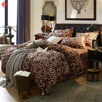 Wholesale velvet bedding sets - Home textile coffee flower coral velvet bedding set king queen fleece duvet cover warm soft Winter bedding bed sheet linen star