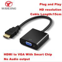 ingrosso attivo p-Commercio all'ingrosso 10 pz per lotto HDMI TO VGA convertitore 1080 P Attivo Maschio a Femmina Per PC Laptop DVD HDTV spedizione gratuita