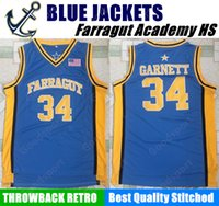 Wholesale Hot Cheap Jackets - HOT Farragut Academy BLUE JACKETS HIGH SCHOOL 34 Kevin Garnett Stitched jerseys Jersey SHIRT cheap sport basketball throwback retro