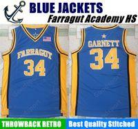 Wholesale men s sleeveless jackets - HOT Farragut Academy BLUE JACKETS HIGH SCHOOL 34 Kevin Garnett Stitched jerseys Jersey SHIRT cheap sport basketball