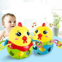 Wholesale Cartoon Baby Chickens - Soft Animal Education Baby Toys High Quality Hand Ball Rattles Cute Chick Bodybuilding Chicken Year Toy 5 18bl W