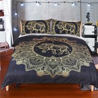 juegos de cama edredón rey al por mayor-Mandala Elephant Bed Set funda nórdica con funda de almohada Black Golden Bedding Queen Size Boho funda nórdica Twin Queen King Size