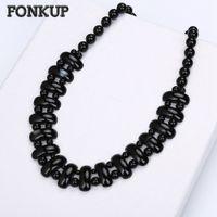ingrosso catena del gemma nera-Fonkup Agata Collana Black Bead Chain Jewellery Uomo Casual Accessori Fashion Lady Pendant Women Fidanzamento Choker Gem Round