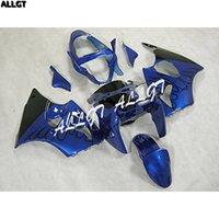 ingrosso zx6r plastic parts-Kit carenature in plastica ABS nero fiamma blu per Kawasaki Ninja ZX6R 636 2000 2001 2002 00 01 02 Parti di carrozzeria blu