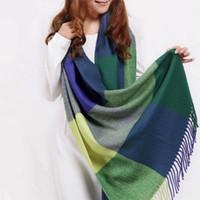 otoño invierno bufandas chales al por mayor-FallWinter bufanda de las mujeres de colores a cuadros anchos bufanda de cachemira invierno cálida chal cuadrado a cuadros chal en mujeres bufandas