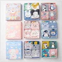 ingrosso calze cartoon ragazze-Caramella New Gift Box Calze per le donne 4 paia di calze a maglia Cute Cotton Cartoon Animal Calze ragazza all'ingrosso