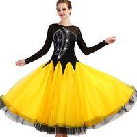 saia de salão amarelo venda por atacado-Concurso de dança de salão vestidos de dança mulheres 2018 nova manga longa elegante saia de dança flamenca amarelo padrão vestido de salão de baile
