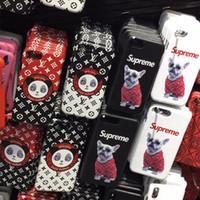 iphone hund harte fall großhandel-Luxus sup telefon case für iphone xxs xr xs max 7 7 plus 8 8 plus leder druck hund panda hard case