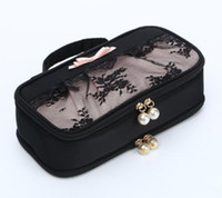 Wholesale lavender gifts - 2018 New style Small Fashion Printed Unicorn Cosmetic Bags Kawaii Style Colorful Gift Girls Portable Black Lace Pearl Travel Necessary D1801