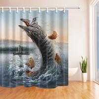 покраска лодок оптовых-Картина Рыбалка ванна занавес, человек в лодке рыбалка большая рыба в волнах для рыбака, полиэстер ткань водонепроницаемый занавески для душа