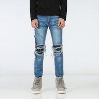Wholesale stylish stretch pants - Men's Stylish Fashion Stretch Slim distressed Washed Biker Jeans Size 28-42,Free Shipping