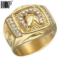 gold gefülltes pferd großhandel-Hop Micro Pave Strass Iced Out Bling Pferd Ring IP Gold gefüllt Titan Edelstahl Ringe für Männer Schmuck