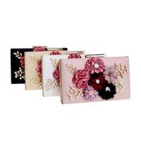 3d blumengeldbeutel großhandel-Damen 3D Flower Clutch mit Perlen Strass Abendtasche Hochzeit Clutch Geldbörse