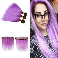 cheveux brésiliens violet foncé achat en gros de-Ombre Purple Couleur Droite Brésilienne Vierge Cheveux Tisse Avec Dentelle Frontale Foncé Racines 1B violet 3 Bundles Avec Partie Libre Frontale 13x4