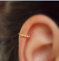kıkırdak altın küpeler toptan satış-12 adet / grup altın ton Boncuklu kıkırdak küpe Helix hoop Kıkırdak piercing Minimal Helix takı Tiny piercing hoop