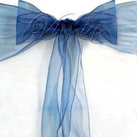 ingrosso coperte di sedia a banchetto blu navy-Wholesale-100PCS blu navy Organza Chair Sash Bow Cover Banchetto decorazioni per feste di nozze