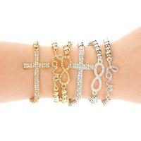bracelets élastiques achat en gros de-Classique Amour Croix Infinity Charme Bracelets Femmes Mode Style Or Strass Amour Bracelet Manchette Bracelet Amour Élasticité bracelet KKA1904