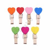 holzhalter foto großhandel-7 Farbe Cartoon Holz Clip Mini Liebe Herzform Foto Clamp Resuable Eco Freundliche Memo DIY Clips Factory Direct Fotohalter 120i T1I972