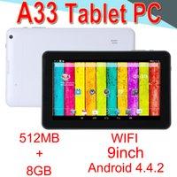 tableta epad 8 gb al por mayor-A33 9 pulgadas Tablet PC Capacitancia Quad Core Android-4.4 Cámara doble 8GB RAM 512MB ROM WIFI Bluetooth 3G EPAD Facebook Google EXCTA33 50 paquetes