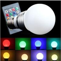 led spot uzaktan kumanda toptan satış-RGB LED Ampul E27 3W Lampada Spot Işık Işık 16 Renk Noel Partisi Lighting için 24Key IR Uzaktan Kumanda ile Değiştirme
