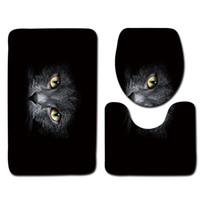 ingrosso stuoia antisdrucciolevole antiscivolo-Set tappetino da bagno nero 3pcs Cat Pattern Tappetino antiscivolo Tappetino da bagno in schiuma morbida Tappetino moderno per WC
