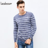 Wholesale sweater for man high neck - 2018 New Autumn Winter Fashion Brand Clothing Pullover Striped Mens Sweater High-quality Slim Fit O-Neck Sweaters For Men