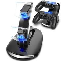 oyun kumandası standı toptan satış-LED Çift Şarj Dock PlayStation 4 PS4 Için USB Şarj Standı PS4 Xbox Perakende Kutusu Ile Bir Oyun Kablosuz Denetleyici ePacket Ücretsiz