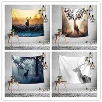 фон на лесной стене оптовых-Лесной олень на стене гобелен 8 дизайн украшения спальни печать скатерть йога коврик пляжное полотенце пикник одеяло партия фон