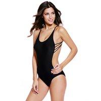 ingrosso costumi da bagno di un pezzo nero-Summer Womens One Swim Suit Plus Size Sexy Black Backless One -Piece Swimsuit con stringhe Bademode Frauen